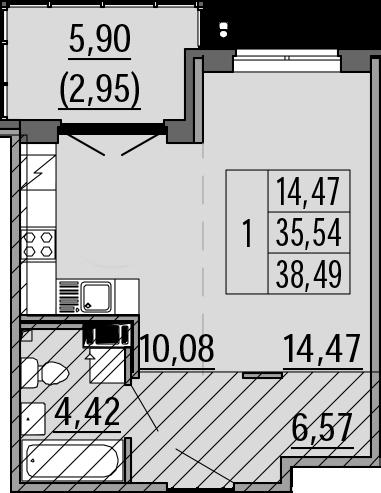 Студия, 38.49 м²
