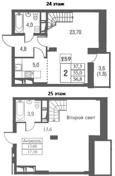 2-комнатная, 56.8 м²– 2