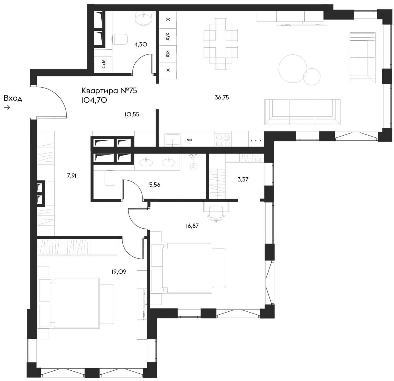 3Е-комнатная, 104.7 м²– 2