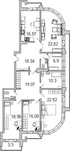 4-к.кв, 154.27 м²