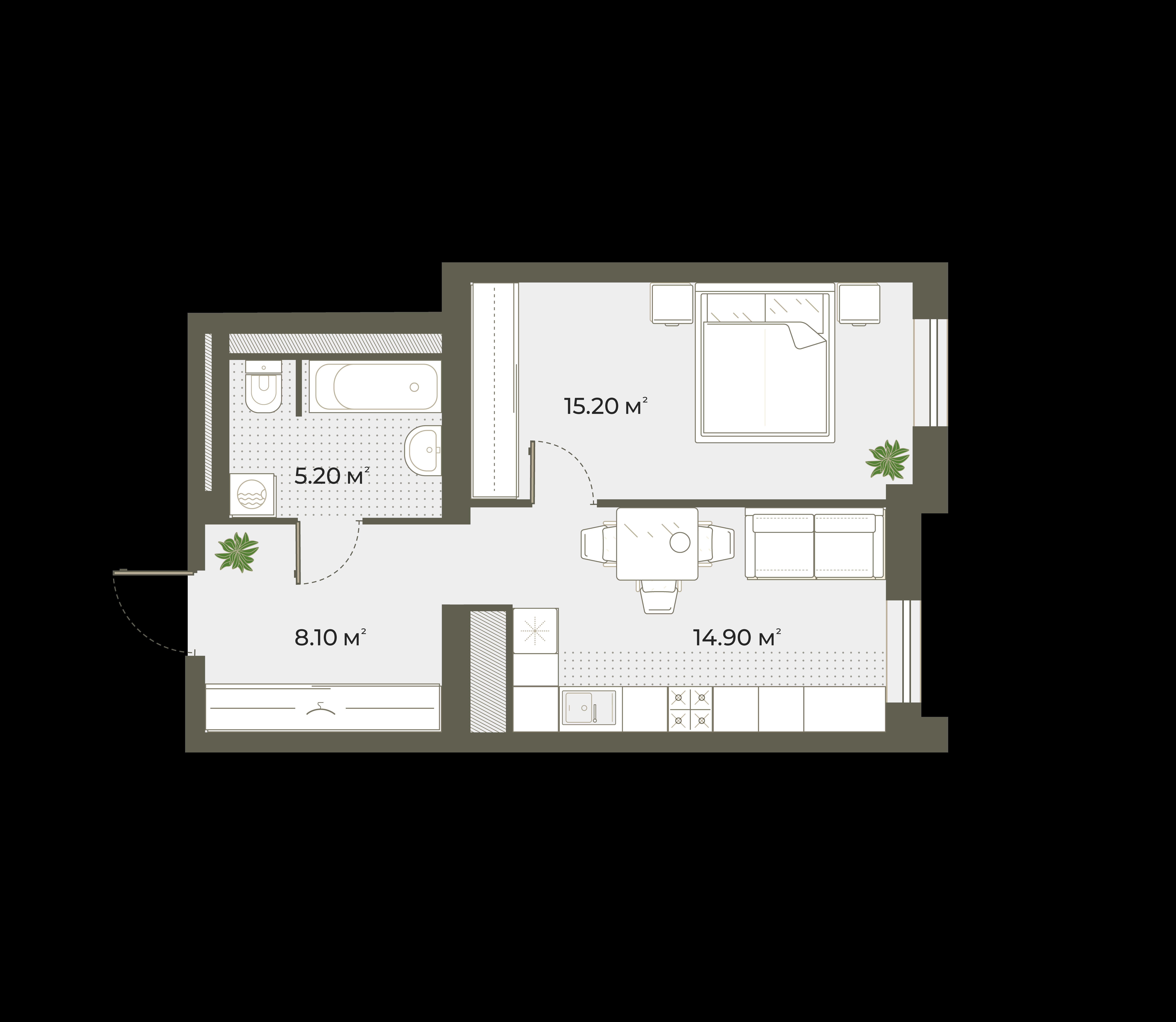 1-к.кв, 43.4 м²
