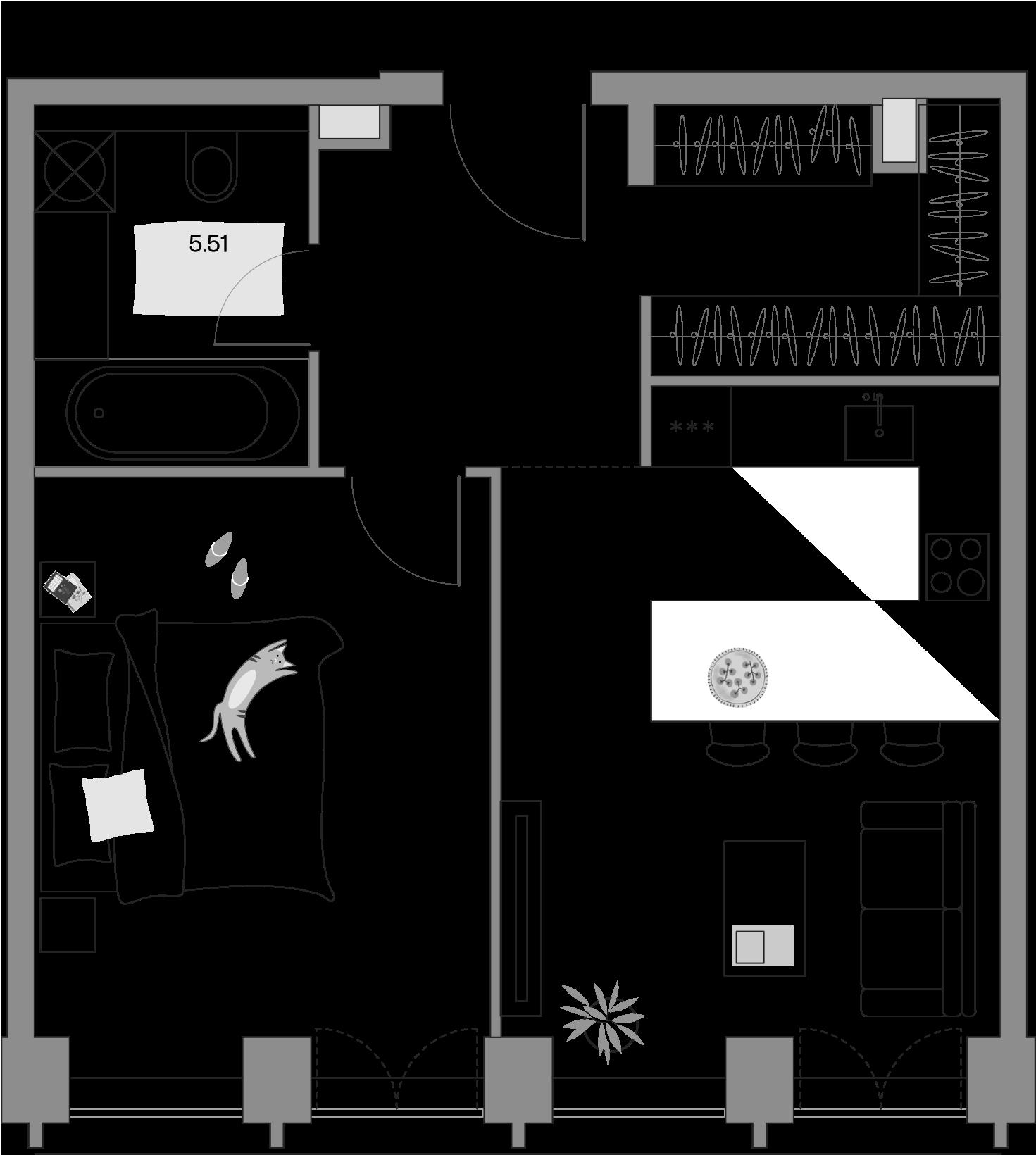 2Е-комнатная, 50.24 м²– 2