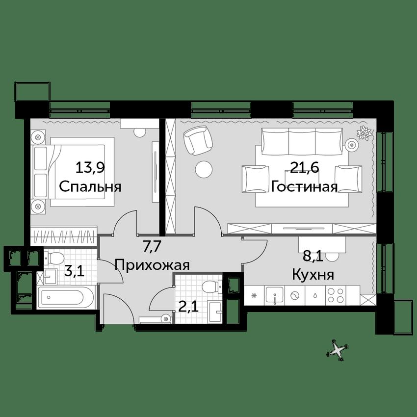 2-к.кв, 56.5 м², 3 этаж