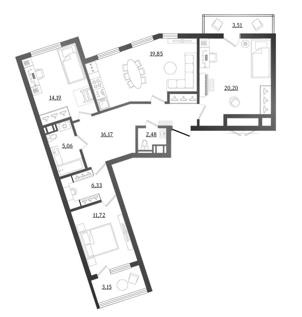 4Е-к.кв, 98.63 м², 8 этаж