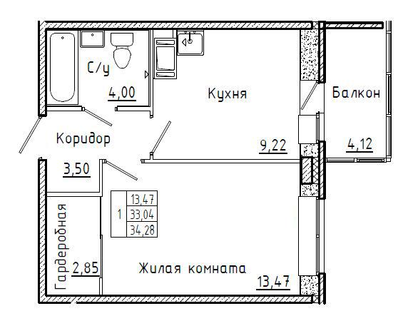 1-к.кв, 37.16 м²