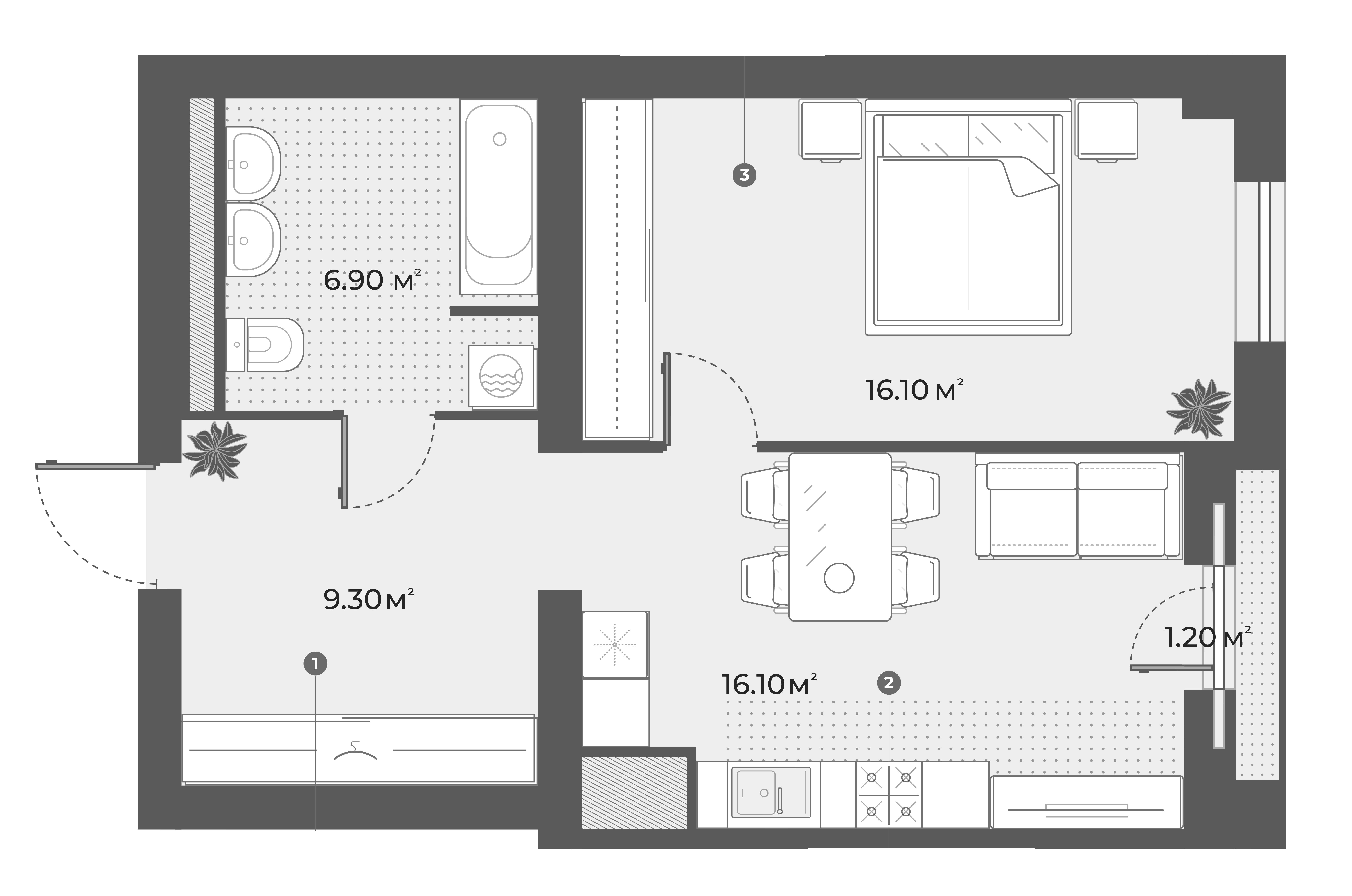2Е-комнатная квартира, 48.4 м², 4 этаж – Планировка