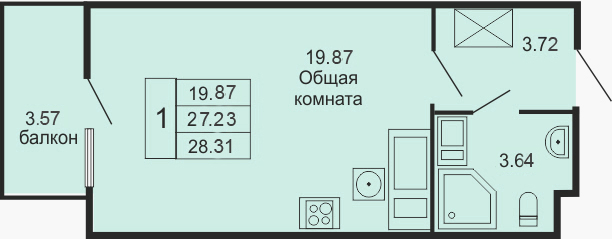 Студия, 30.83 м²