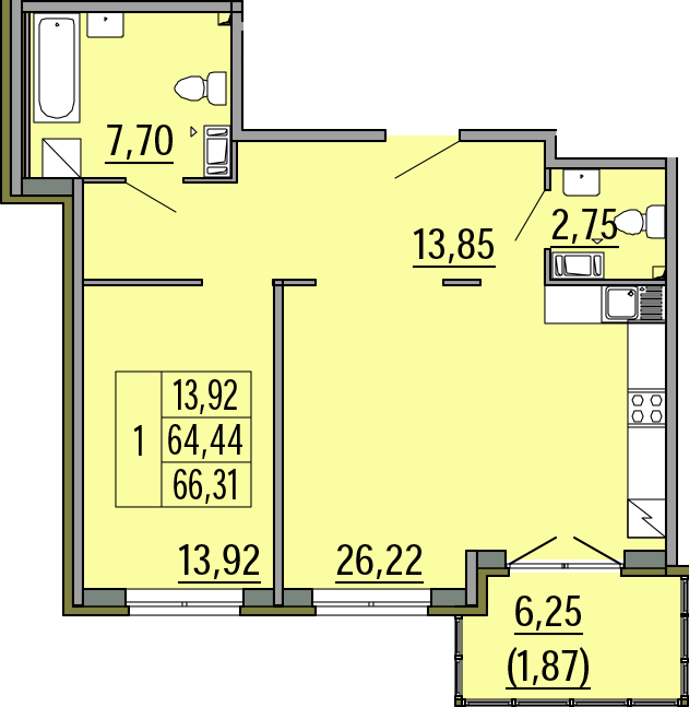 2Е-комнатная, 66.31 м²– 2