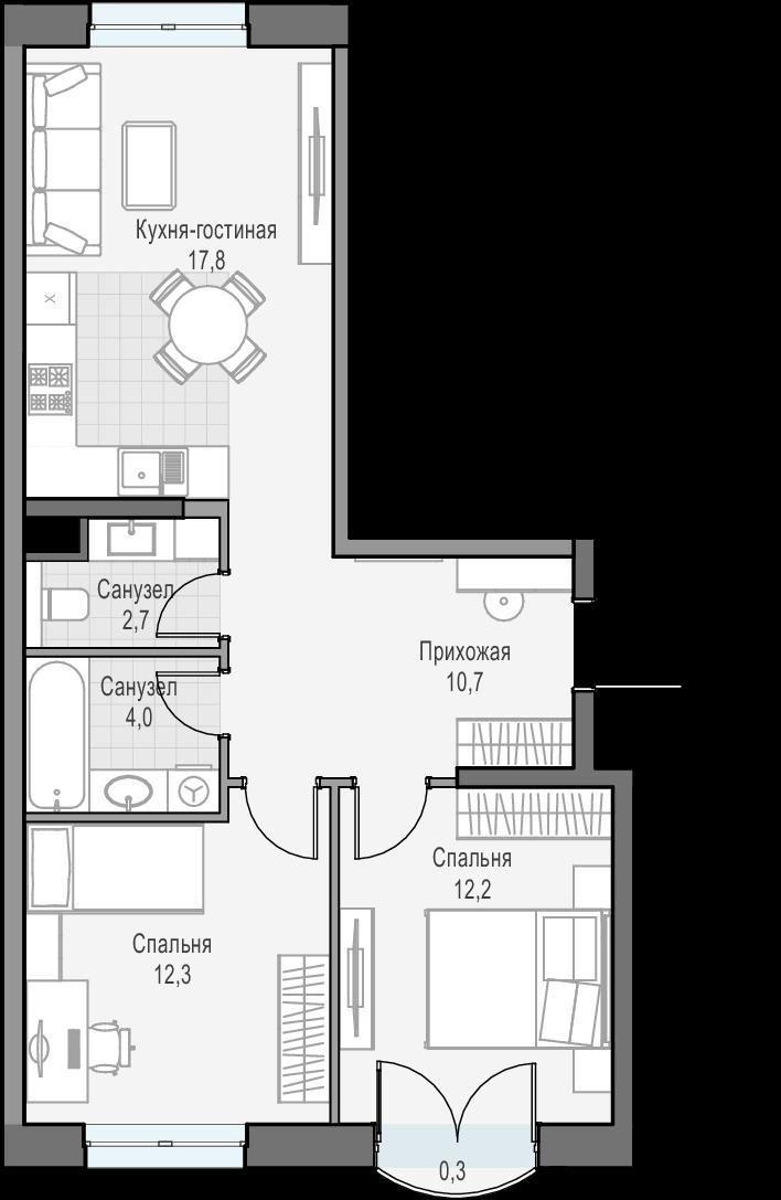 3Е-к.кв, 58.9 м², 5 этаж