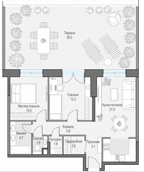 3Е-к.кв, 81.3 м²