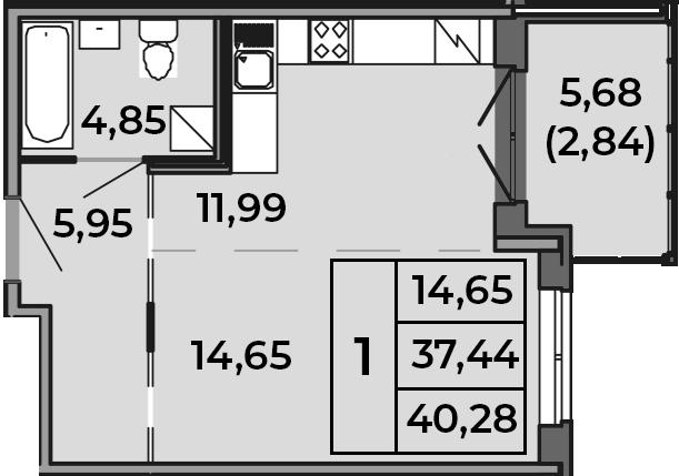 Студия, 37.44 м², 1 этаж