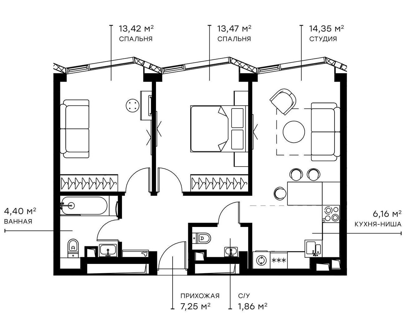 3Е-комнатная, 60.72 м²– 2