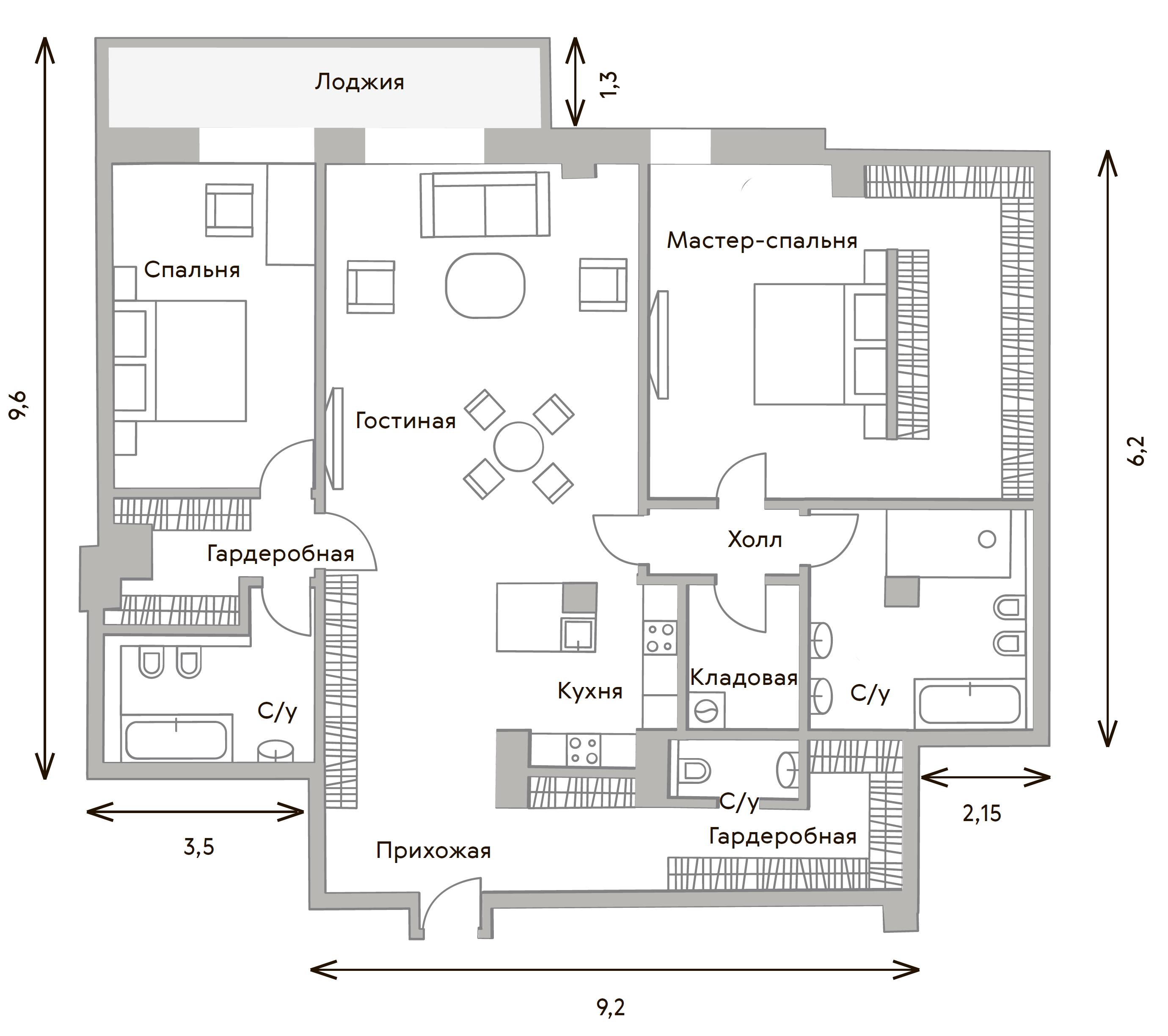 3Е-комнатная, 156.3 м²– 2