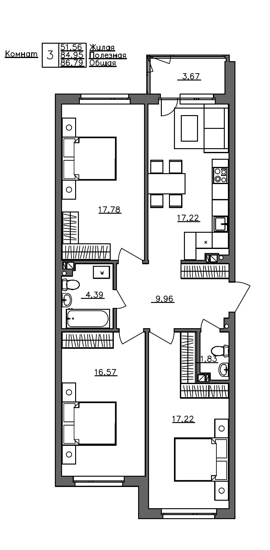 4Е-комнатная, 86.79 м²– 2