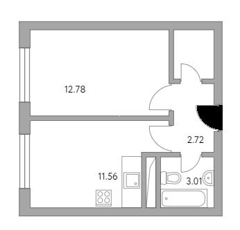 1-к.кв, 32.09 м²