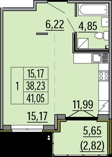 Студия, 41.05 м²– 2
