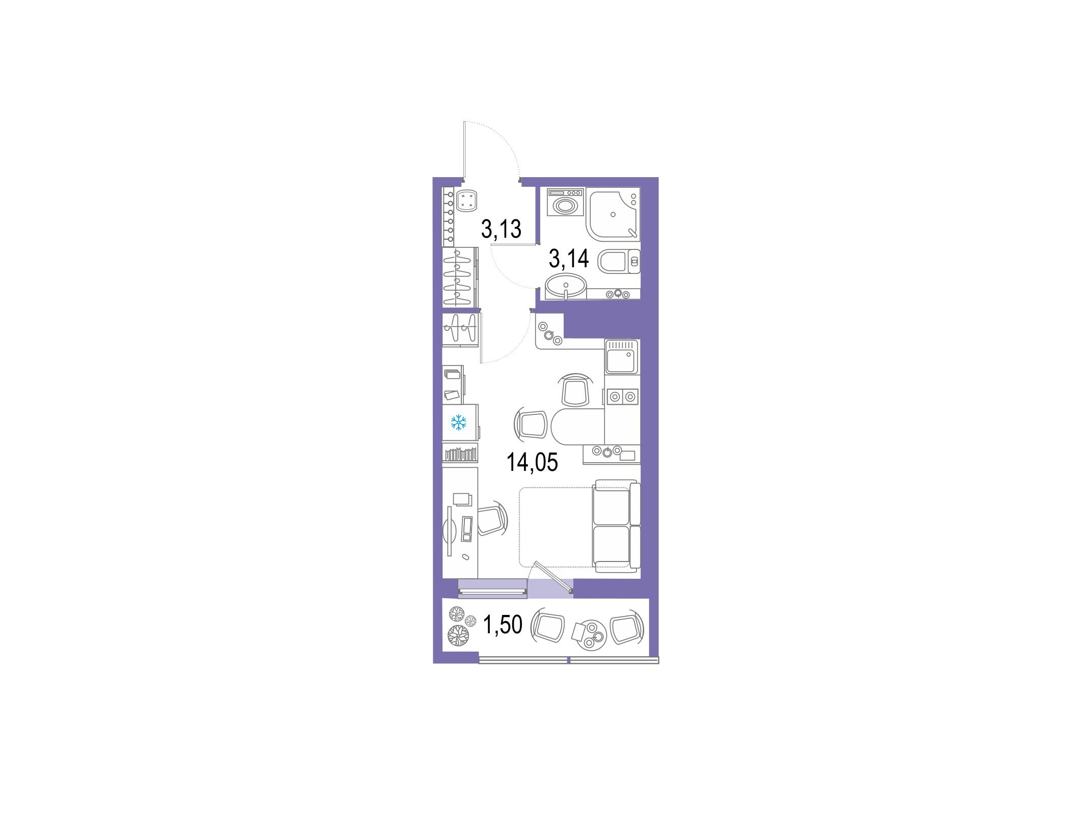 Студия, 21.82 м²– 2