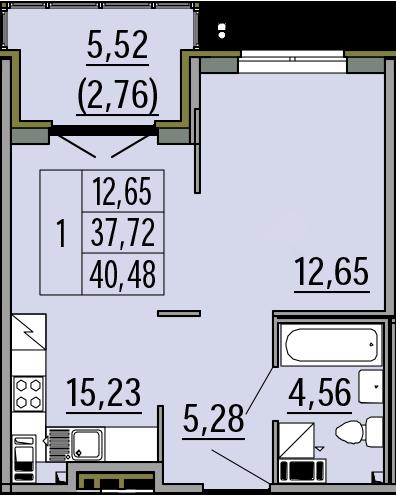2Е-к.кв, 40.48 м², 2 этаж