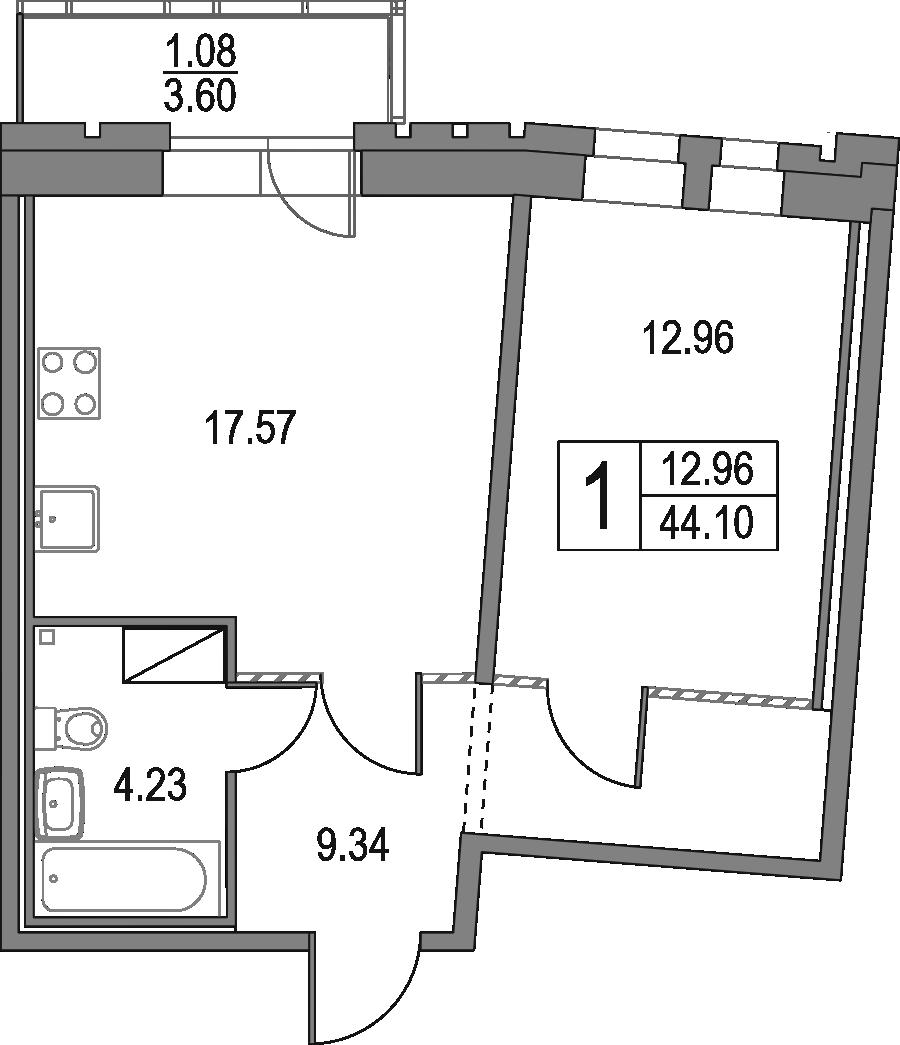 2Е-комнатная, 44.1 м²– 2