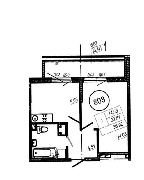 1-к.кв, 33.51 м²