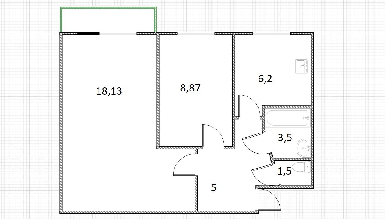 2-к.кв, 43.2 м²
