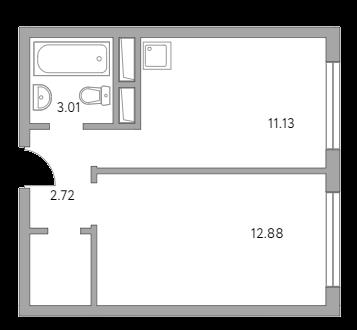 1-к.кв, 31.67 м²