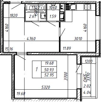 1-к.кв, 54.97 м²