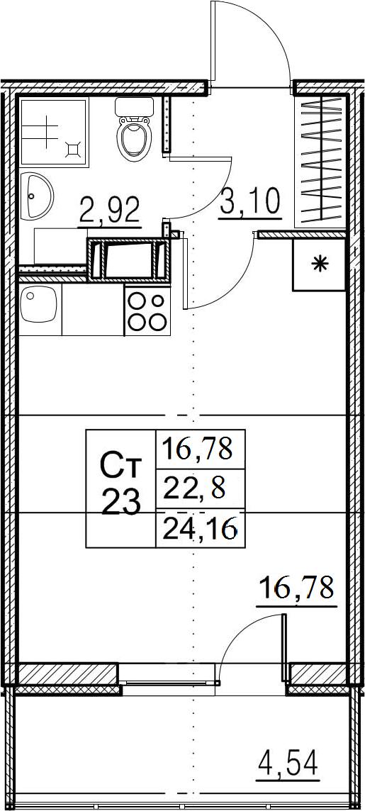 Студия, 27.34 м²