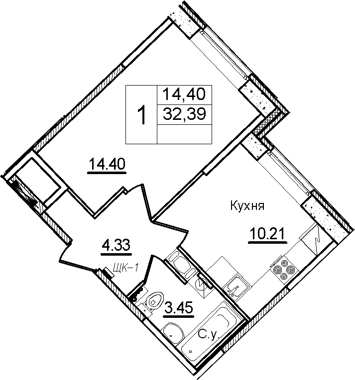 1-к.кв, 32.39 м², 1 этаж