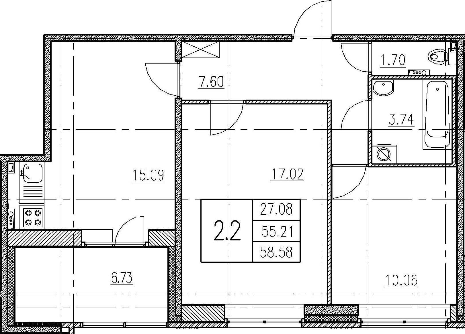 3Е-комнатная, 55.21 м²– 2