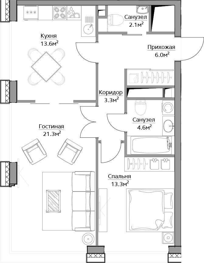 2-комнатная, 64.2 м²– 2