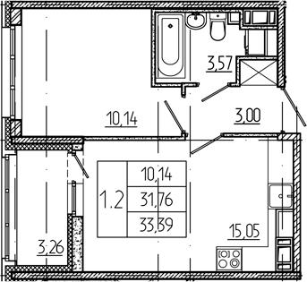 2Е-к.кв, 31.76 м²