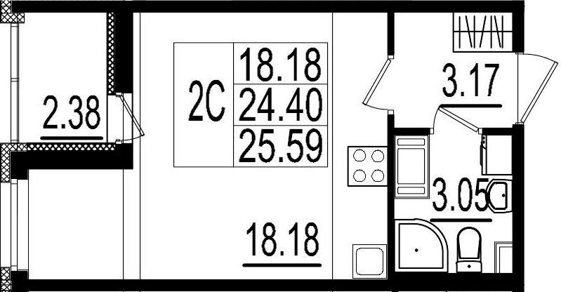 Студия, 24.4 м², 4 этаж