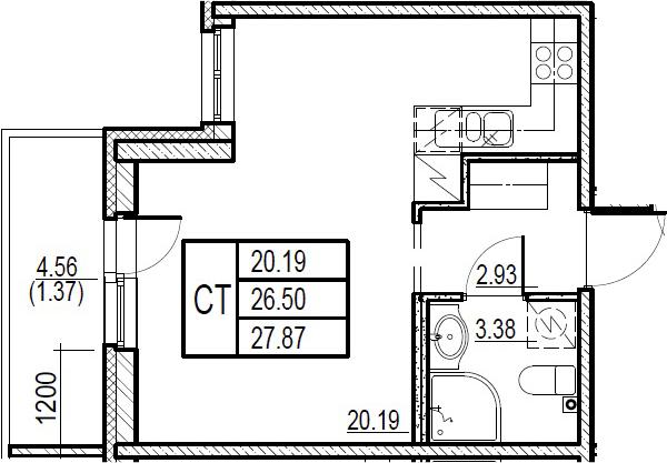 Студия, 27.87 м²– 2