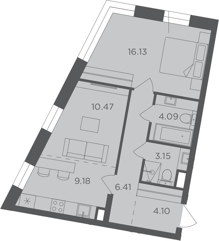 2Е-комнатная, 53.53 м²– 2