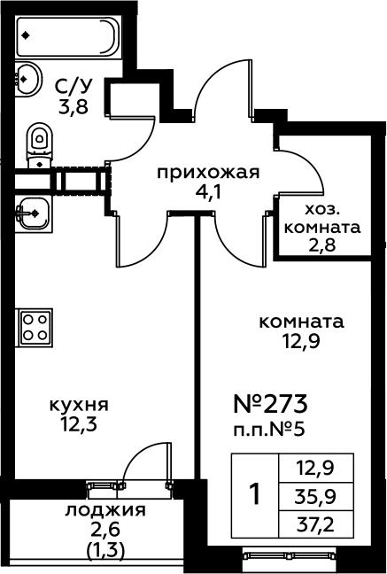 1-комнатная, 37.2 м²– 2
