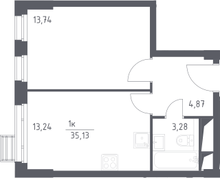 1-к.кв, 35.13 м²
