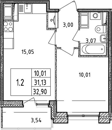 2Е-комнатная, 31.13 м²– 2