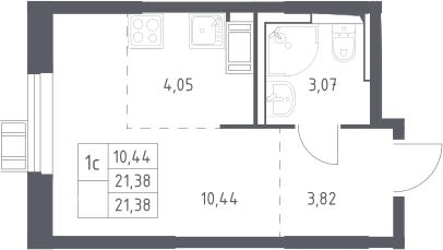 Студия, 21.38 м², 13 этаж
