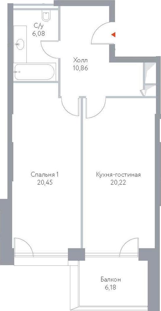 2Е-к.кв, 63.79 м², 15 этаж