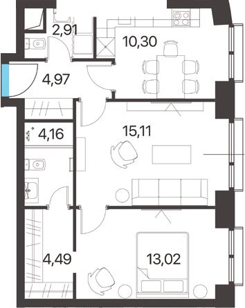 2-комнатная, 54.96 м²– 2