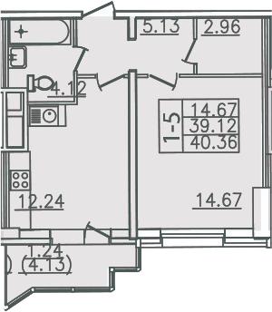 1-комнатная, 40.36 м²– 2