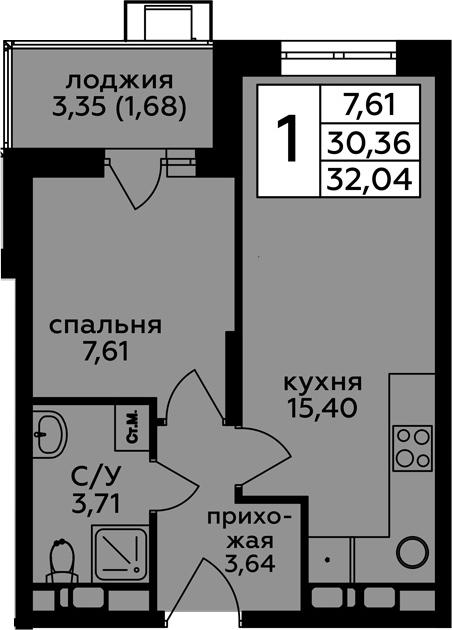 2-к.кв (евро), 33.72 м²