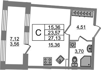 Студия, 23.57 м², 2 этаж