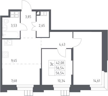 3Е-к.кв, 56.54 м², 6 этаж