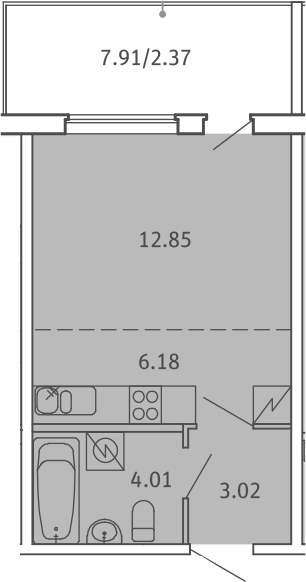 Студия, 28.43 м², от 2 этажа