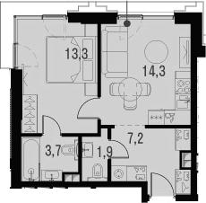 2Е-к.кв, 40.4 м²