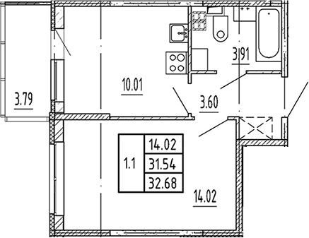 1-комнатная, 31.54 м²– 2
