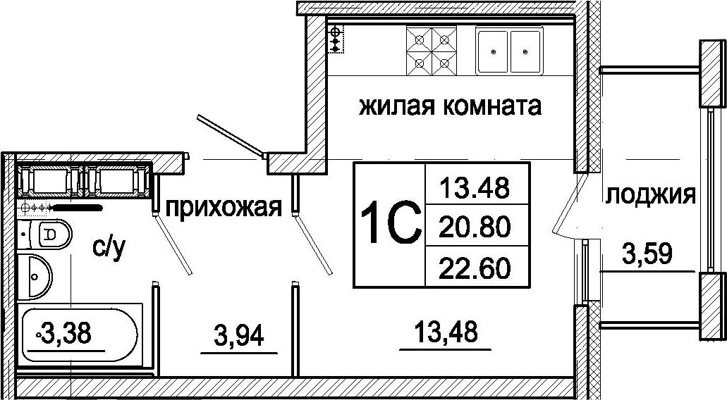 Студия, 24.39 м²