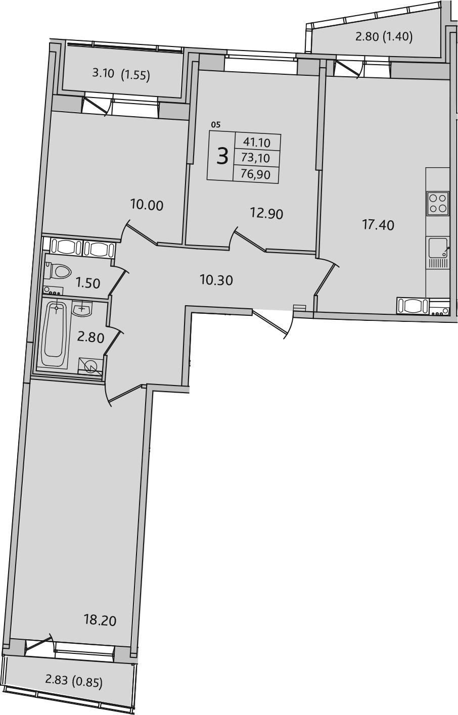 4Е-к.кв, 76.9 м², 12 этаж